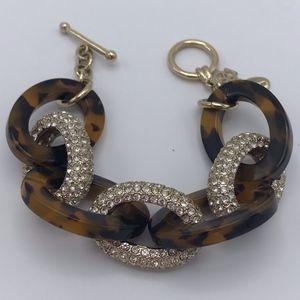 Tortoise and crystal bracelet